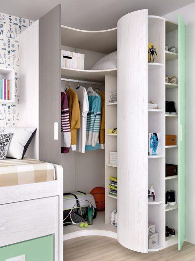 Dormitorio juvenil moderno compacto cama nido con cajones