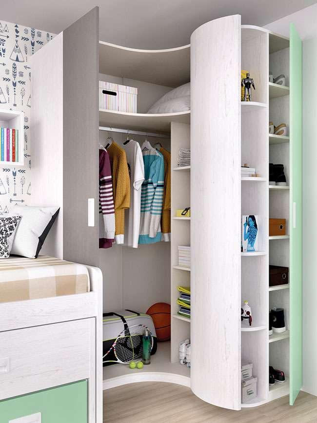 Dormitorio juvenil moderno compacto cama nido y cajones - Armarios juveniles rinconera ...
