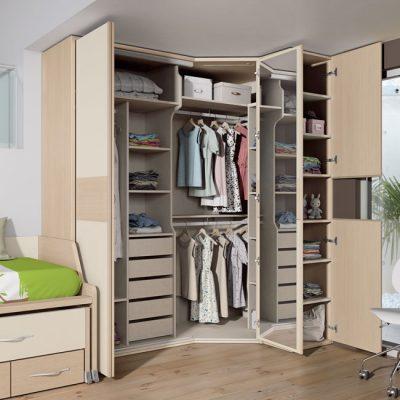 Dormitorio juvenil moderno cama nido compacta, cajones y escritorio deslizable