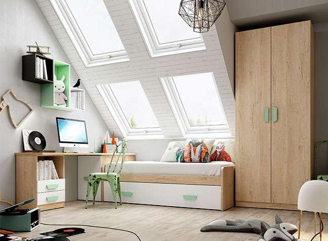 Cama nido juvenil blanca y madera con escritorio y arc n - Cama nido arcon ...