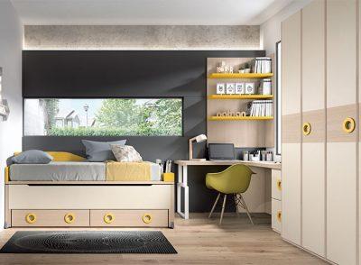 Dormitorio con camas compactas juveniles y cajones color roble