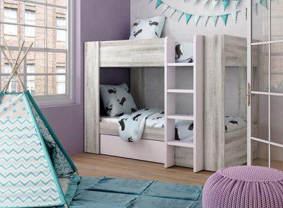 Camas literas con cajón de arrastre en color madera y rosa pastel