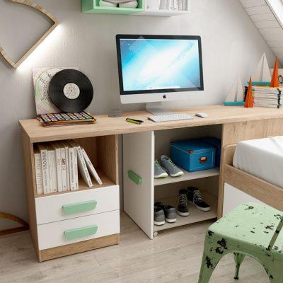 Cama nido juvenil blanca y madera con escritorio y arcón zapatero extraíble