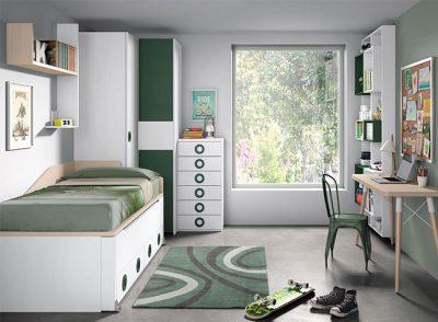 Dormitorio juvenil blanco moderno compacto con cajones