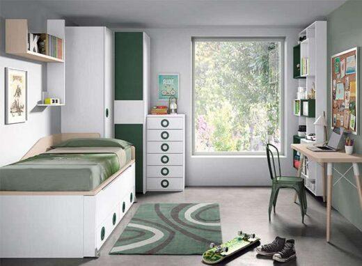 dormitorio juvenil blanco moderno compacto 015SP008