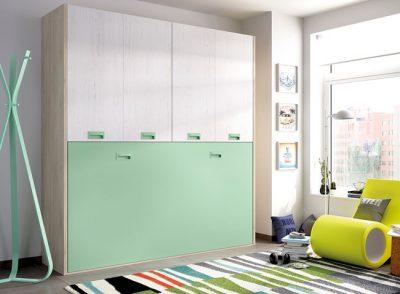 Dormitorio juvenil con cama abatible horizontal con armario integrado