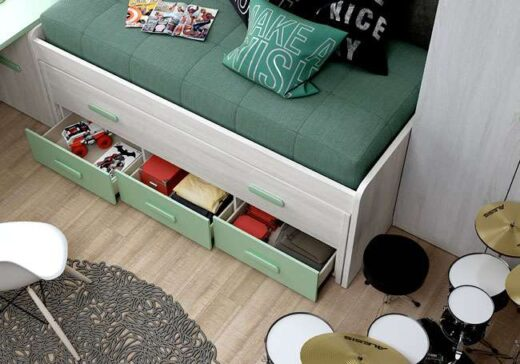 dormitorio juvenil cama compacta blanco menta 076LI0013