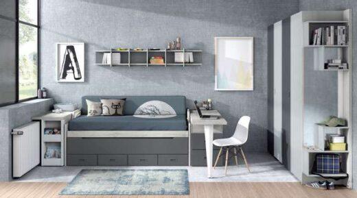 dormitorio juvenil cama compacta gris 015SP0071