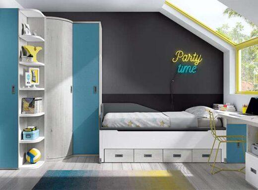 dormitorio juvenil compacto con armario de rincon blanco 015SP021