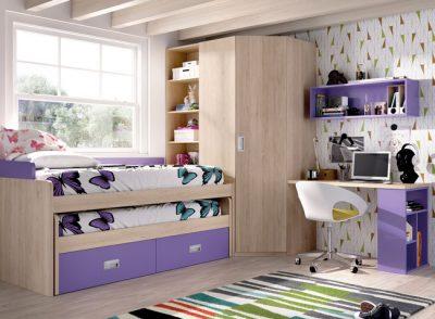 Dormitorio juvenil compacto con escritorio y armario grande en esquina (opcional) color lila y madera