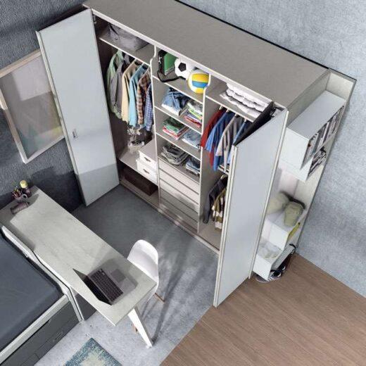 dormitorio juvenil compacto doble armario gris 015SP0072