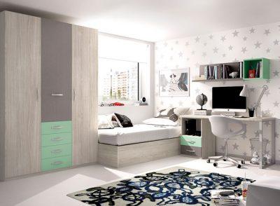 Dormitorio juvenil completo cama con bañera elevable y zona de estudio