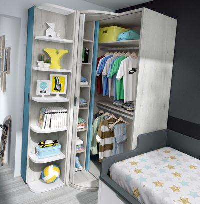 Dormitorio juvenil compacto con escritorio y armario de rincón (opcional) azul y blanco
