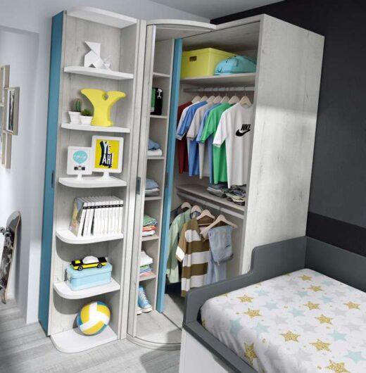 dormitorio juvenil con armario rincon compacto 015SP0212
