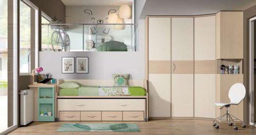 dormitorio juvenil cama compacta cajones escritorio deslizable
