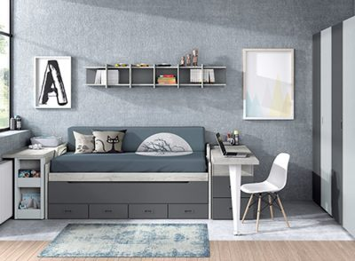 Dormitorio juvenil compacto doble con cajones y arcón extraíble color gris