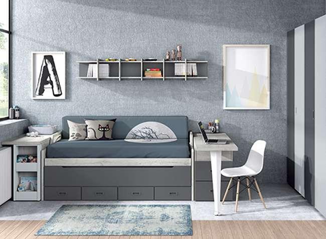 dormitorio juvenil compacto doble cama cajones y arc n On dormitorios juveniles dobles