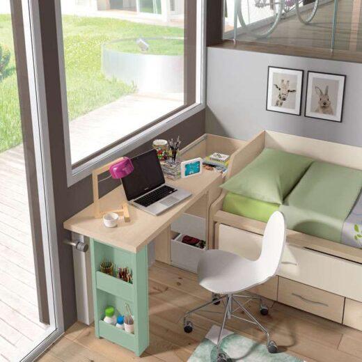 escritorio juvenil deslizable cama nido