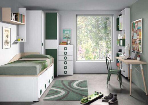 habitacion juvenil blanca moderna 015SP0081