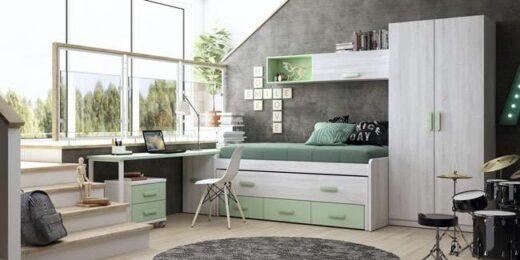 habitacion juvenil cama doble cajones menta 076LI0011