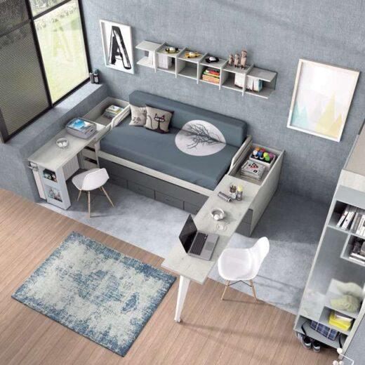 habitacion juvenil compacta cajones escritorio gris 015SP0073