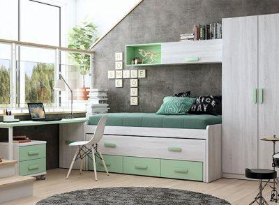 Habitación juvenil compacta con cajones y escritorio en color menta y blanco nórdico