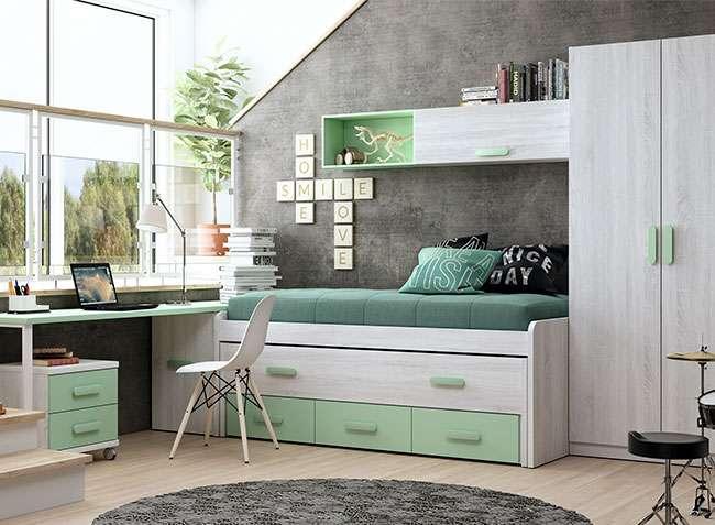 Habitaciones juveniles compactas con cajones y escritorio for Sillas de oficina juveniles baratas