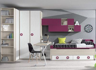 Habitación juvenil original con cama compacta, cajones y escritorio giratorio