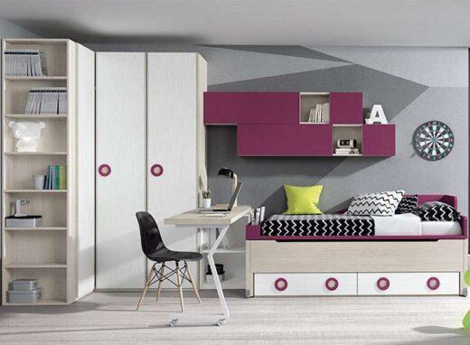 originales habitaciones juveniles cama compacta escritorio 015SP011