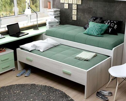 juvenil cama compacta doble color blanco menta 076LI0012