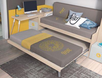 Dormitorio juvenil cama nido con escritorio extraible color roble y amarillo