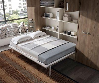 Estructura con cama de matrimonio abatible horizontal de 150 + armario integrado