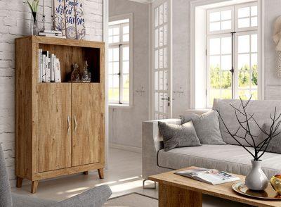 Aparador alto de 2 puertas y hueco color nogal estilo nórdico