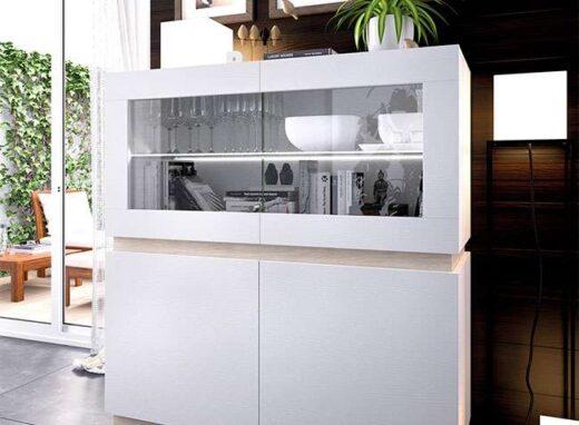 aparador blanco moderno vitrina y puertas 006AP0161