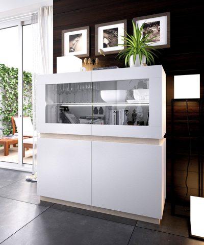 Aparador blanco estilo moderno con vitrina y puertas