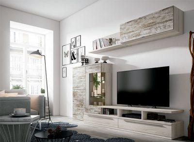 Apilable de salón con módulos de líneas rectas y acabado vintage
