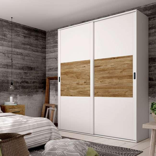 armario 2 puertas correderas 180 cm largo color blanco y
