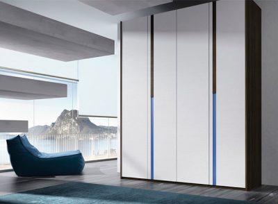 Armario alto de dormitorio con 4 puertas batientes moderno