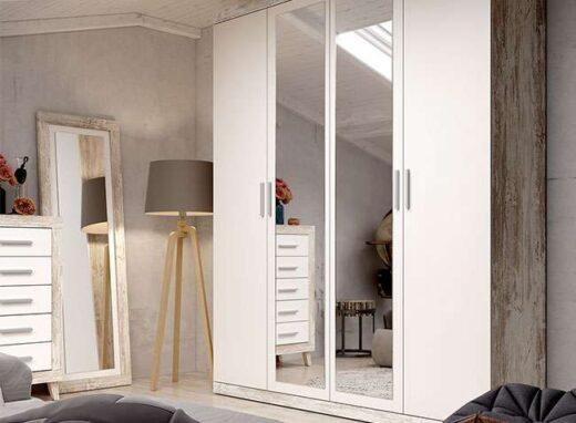 armario color vintage blanco 4 puertas abatibles 2 espejos centrales 076AR0021