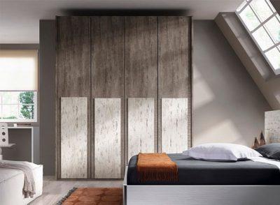 Armario de dormitorio con 4 puertas batientes estrechas en color vintage