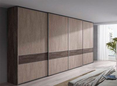 Armario para dormitorio matrimonio de 4 puertas correderas acabado tipo madera