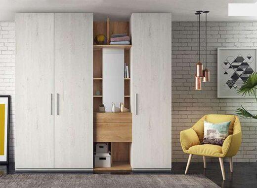 dormitorio armario tres puertas batientes estanteria 089AR0121