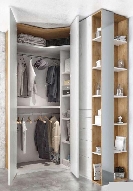 moderno armario rinconero puertas batientes y cajones 089AR0102