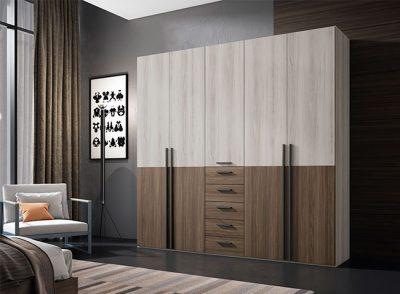Armario organizador con 5 puertas abatibles y cajones para dormitorio