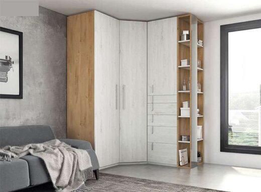armario moderno rinconero puertas batientes y cajones 089AR0101