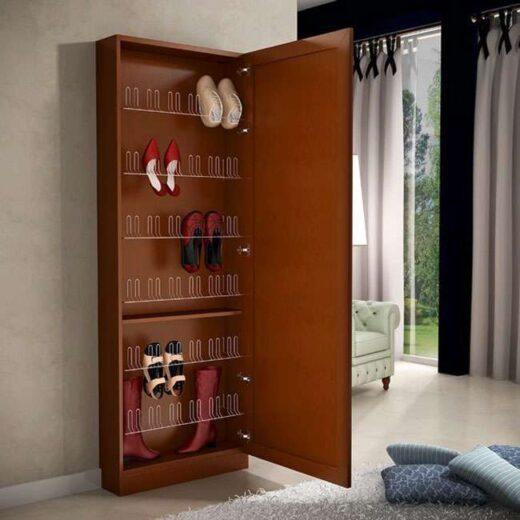 armario zapatero madera nogal con espejo 067ZA0012