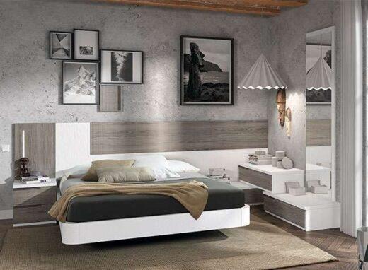 matrimonio asimetrico cama flotante cabecero con mesitas blanco madera 015OR0011