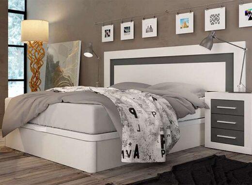 Dormitorio matrimonio blanco y gris formado por cabecero y mesitas de noche  estilo moderno-nordico