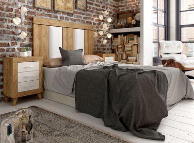 Dormitorio matrimonio blanco y madera formado por cabecero con tapizado y mesitas con patas