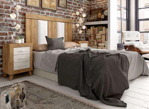 blanco y madera cabecero tapizado mesitas patas matrimonio 076MA0031